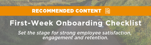 First Week Checklist Recommended Content